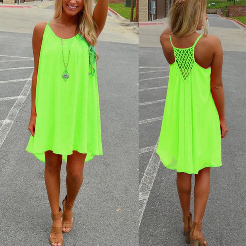 Celmia Summer Chiffon Dresses For Women Halter Tops Sleeveless Backless Chiffon Dress Evening Party Beach Loose Mini Dress