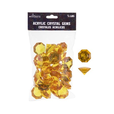 Mega Crafts - 1/2 lb Acrylic Large Diamonds Orange | Plastic Glass Gems For Arts And Crafts, Vase Fillers And Table Scatters, Decoration Stones, Shiny Pebbles ()