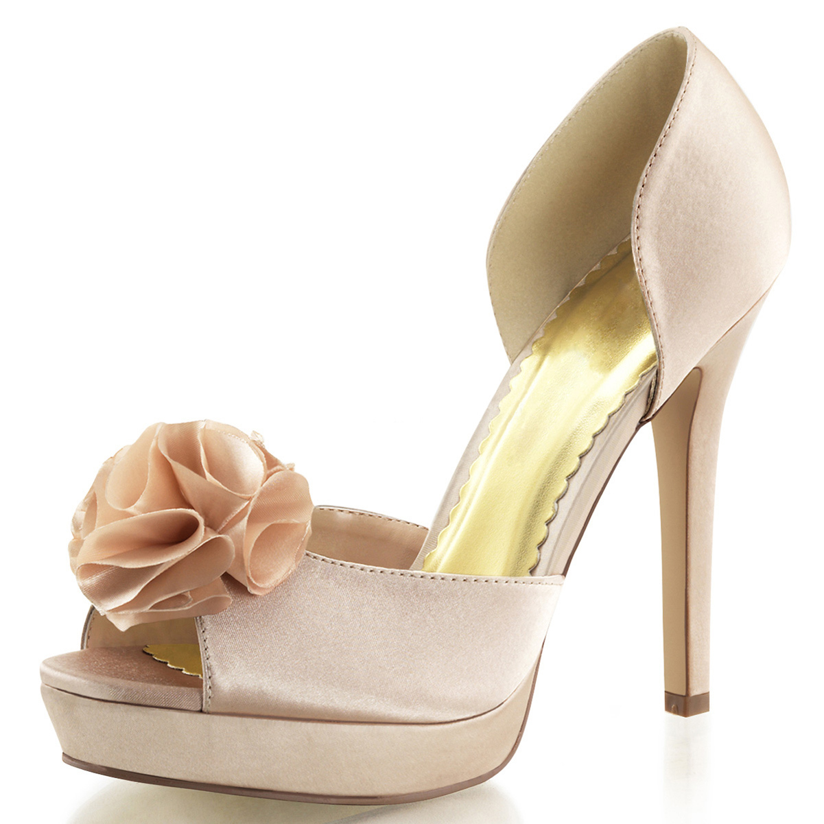 Womens Champagne Wedding Shoes D'Orsay Pumps Peep Toe Shoes 4 3/4 Inch Heels