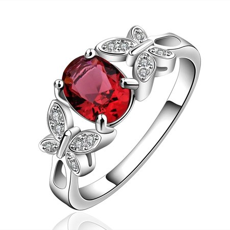 New Arrival 925 Silver Beautiful Ruby Diamond Fashion Band Ring for Women Lady Lovers(Q) - image 5 of 8