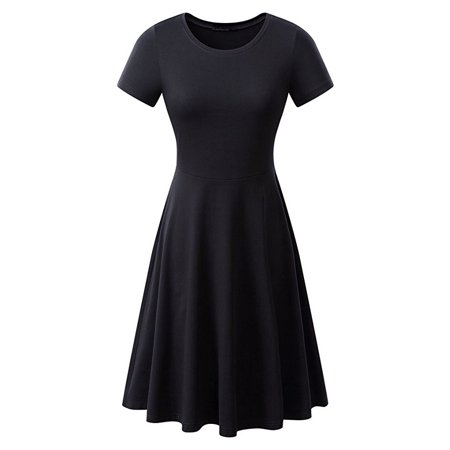 Womens Dress Elastic Short Sleeve Summer Elegant Knee-Length Round Neck Tunic Casual Pleated Solid (Solid Pleated Dress)