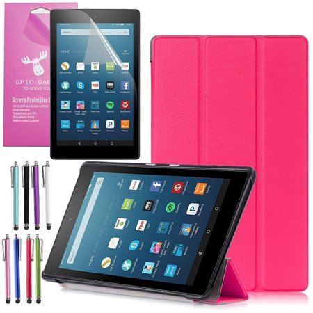 All New Amazon Fire Hd 8 Case  2016 6Th Gen   Epicgadget Tm  Auto Sleep   Wake Premium Leather Folding Folio Case For Fire Hd 8  8  Hd Display Tablet   Fire Hd 8 Screen Protector  Hot Pink