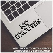 """No Excuses Motivational Vinyl Lettering Wall Decal Sticker (Shadow 2"""" H x 4.5"""" L, Black)"""