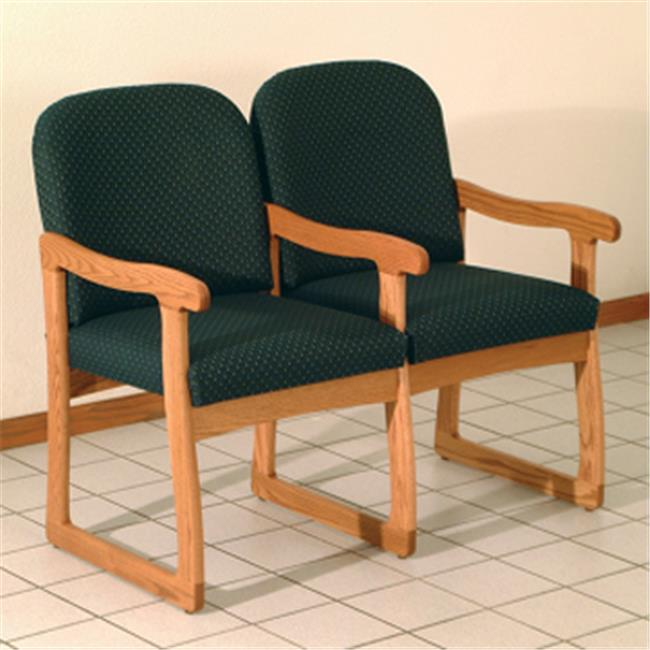 Wooden Mallet DW7-2MHWE Prairie Two Seat Chair with Center Arms in Mahogany - Watercolor Earth