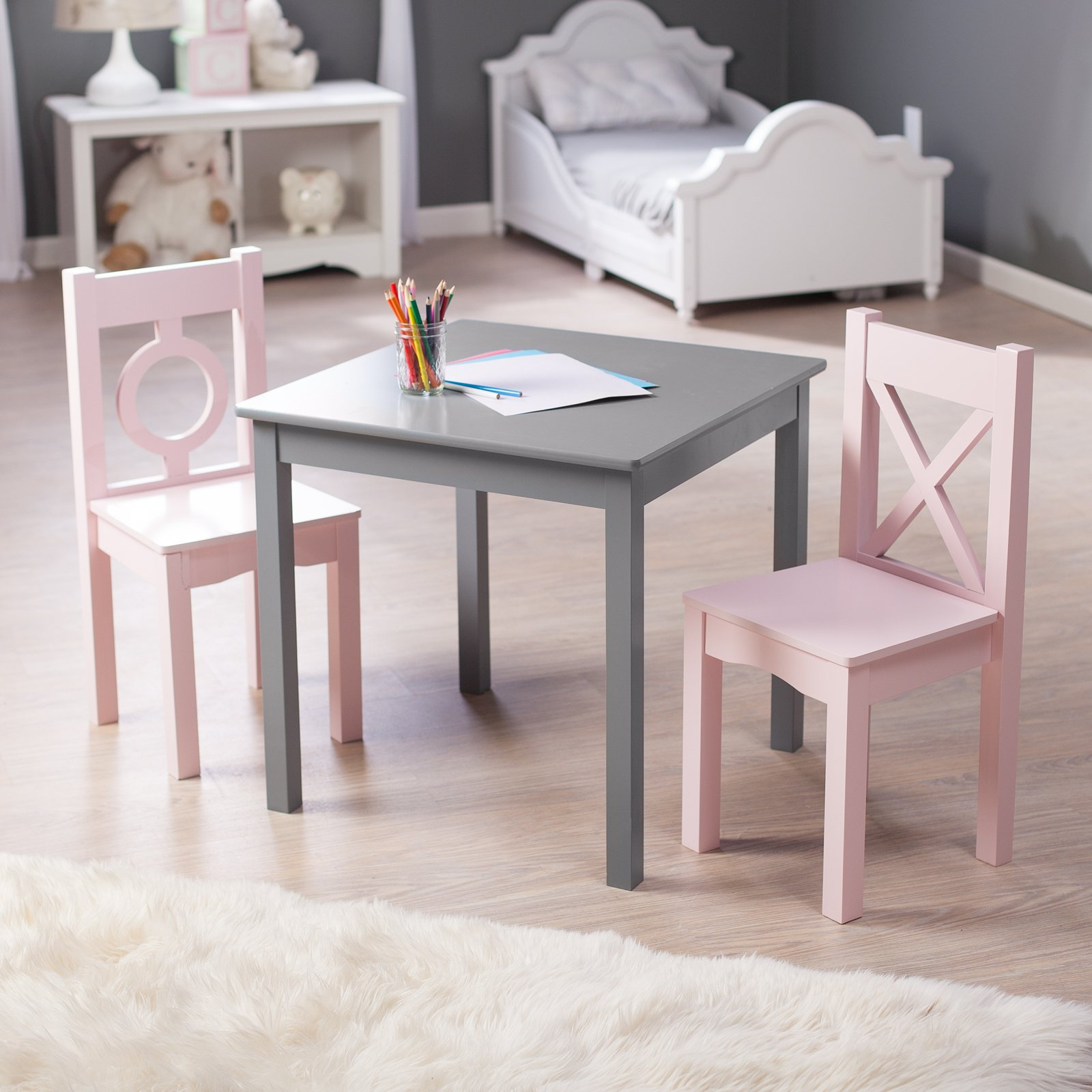 Lipper Hugs and Kisses Table and 2 Chair Set - Gray \u0026&; ... & Lipper Hugs and Kisses Table and 2 Chair Set - Gray \u0026amp; Pink ...