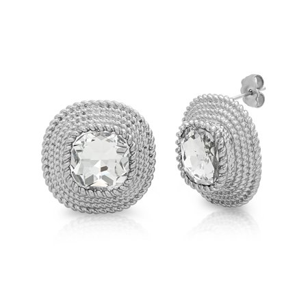 Women's Stainless Steel White Stone Fashion Stud Earrings