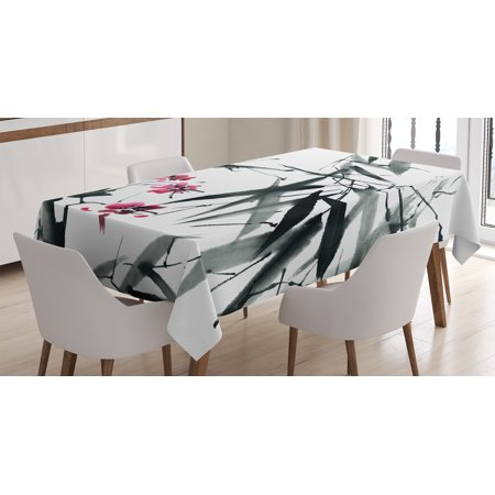 Traditional House Decor Tablecloth, Natural Sacred Bamboo Stems with Cherry Blossom Folk Art Print, Rectangular Table Cover for Dining Room Kitchen, 52 X 70 Inches, Black Fuchsia, by Ambesonne - Bamboo 52 Halloween