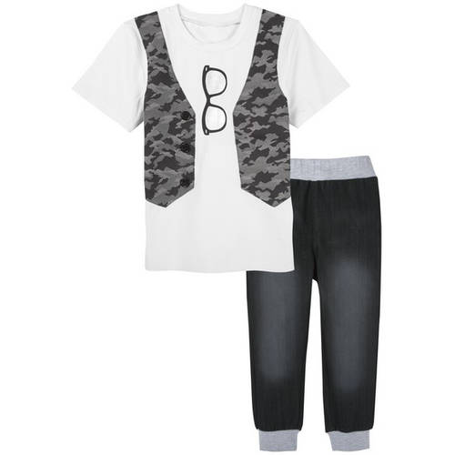 G-Cutee Little Boys White Tee with Camo Vest and Knit Denim Pant Outfit Set, Available in Size 4-7 thumbnail