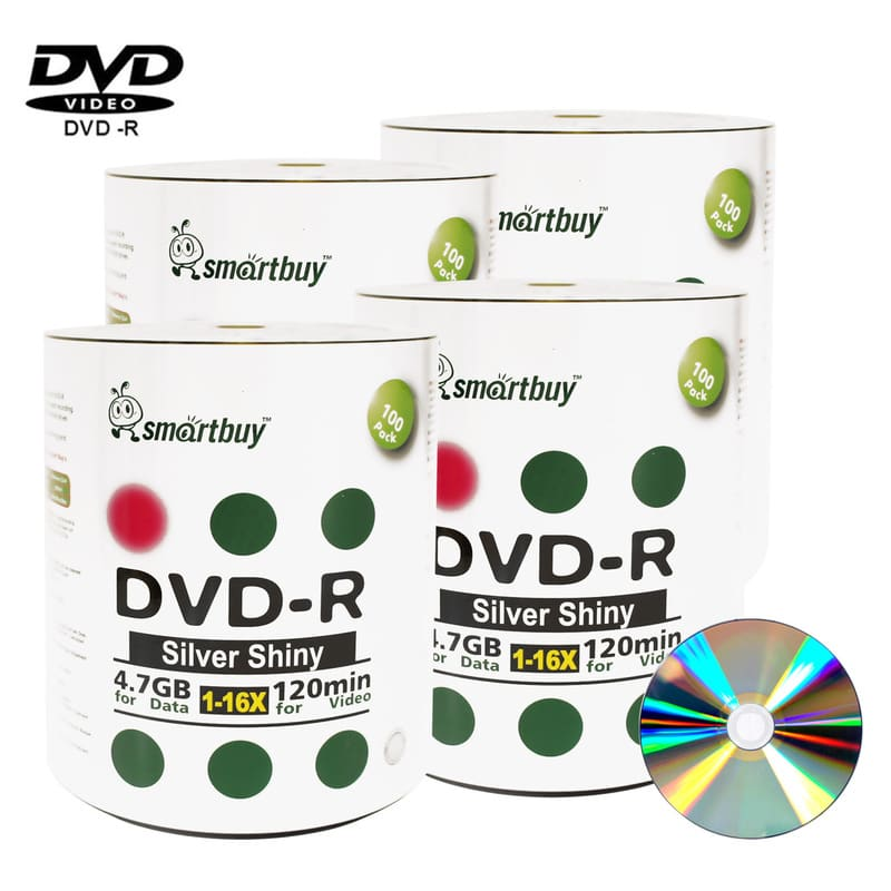 400 Pack Smartbuy 16X DVD-R 4.7GB 120Min Shiny Silver (Non-Printable) Data Blank Media Recordable Disc