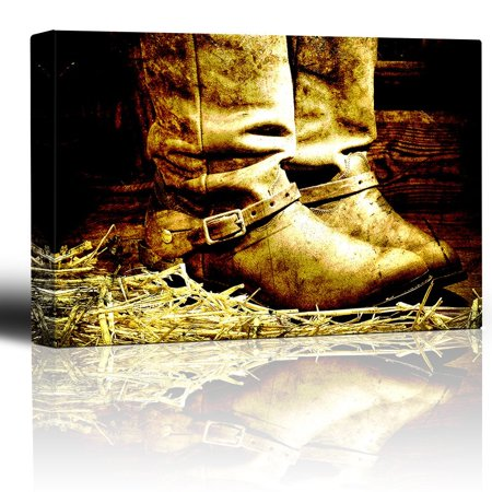 wall26 - Boots on Straw in barn - Country and Western Art - Canvas Art Home Decor - 24x36 inches (Country Western Decor Ideas)