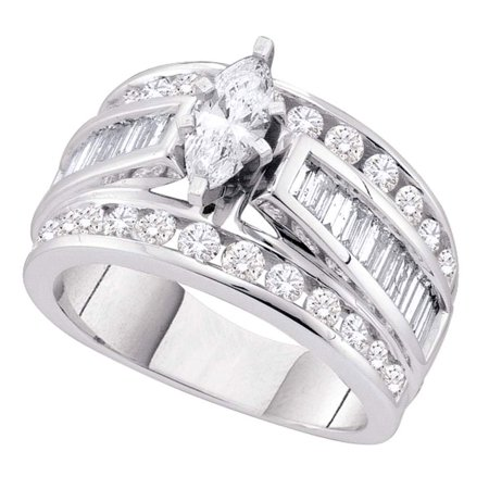 14k White Gold Marquise Diamond Solitaire Engagement Ring Fancy Bridal Ring Round Baguette Stones 1.0 (Marquise Solitaire Ring Mounting)