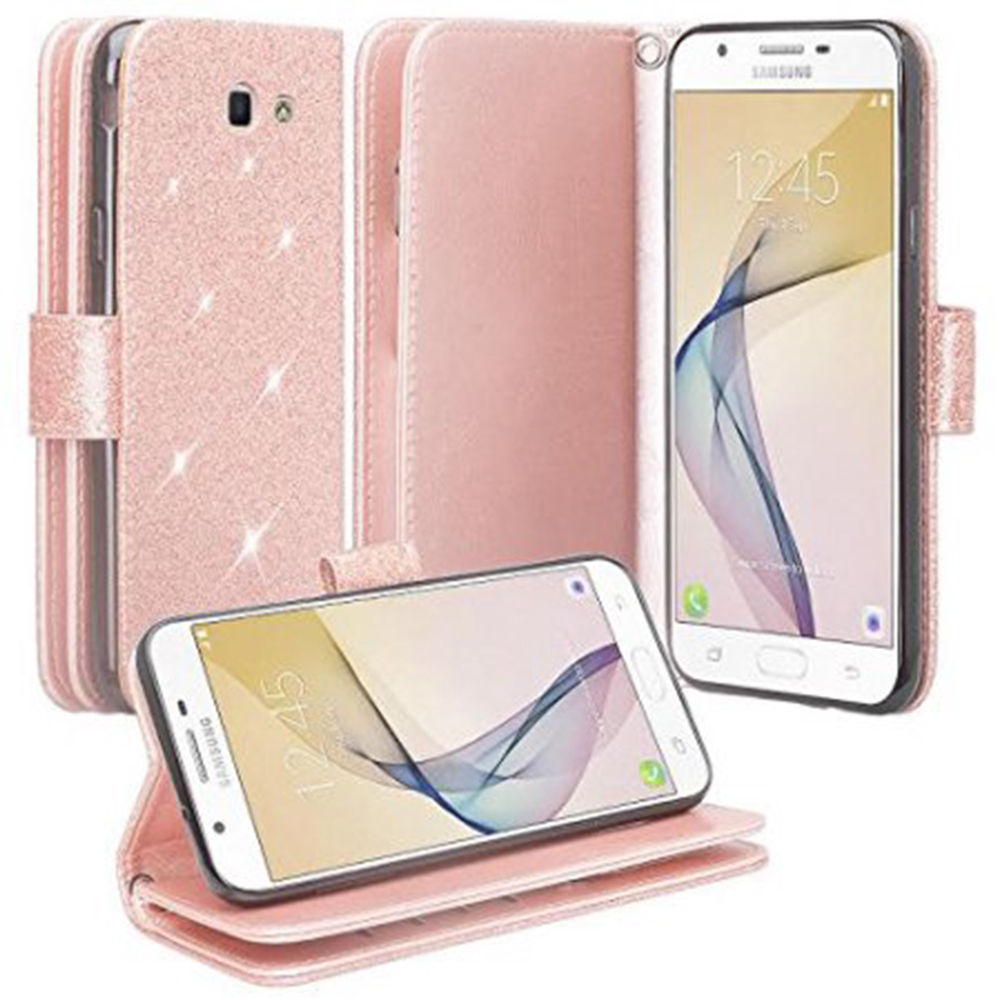 Samsung Galaxy J7 Prime, J7 V, J7 Perx, J7 Sky Pro, Halo Case - Wydan Bling Glitter Wallet Card Slot Kickstand Feature w/ Strap Sparkle Phone Cover - Rose Gold