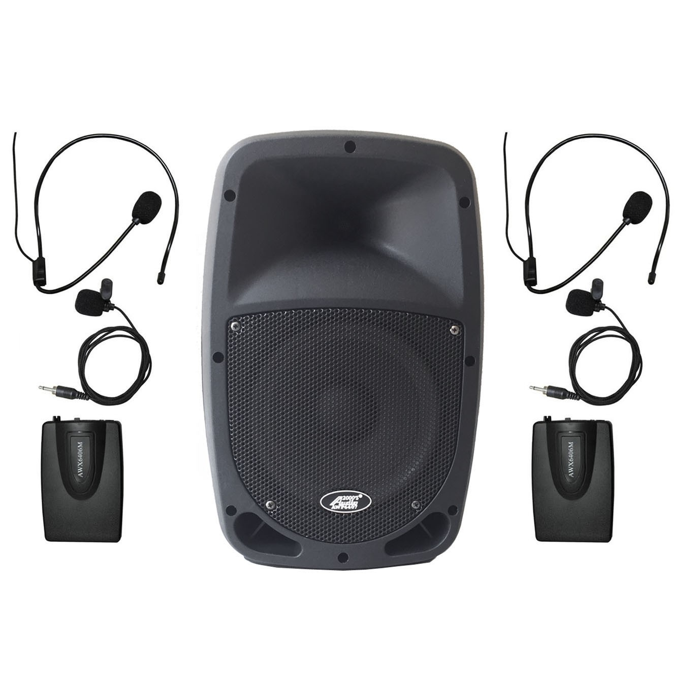"Audio 2000s 6407M 30W 8"" Dual Channel Wireless Microphone Bluetooth Portable PA System with 2 Bodypack by Audio2000%27S"