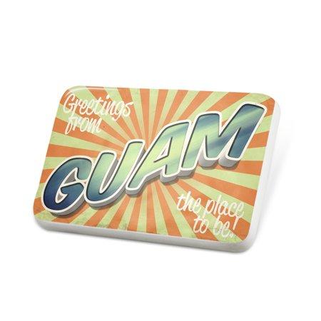 Porcelein Pin Greetings from Guam, Vintage Postcard Lapel Badge – (Guam Postcard)