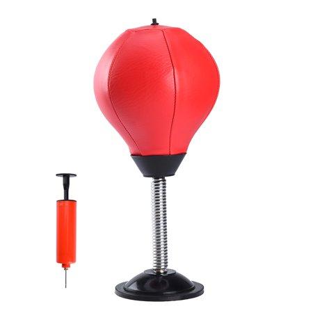 RUNACC Desktop Punching Ball Suction Freestanding Reflex Boxing Bag Punching Pedestal Ball with Free Inflator, Red - Punching Balls