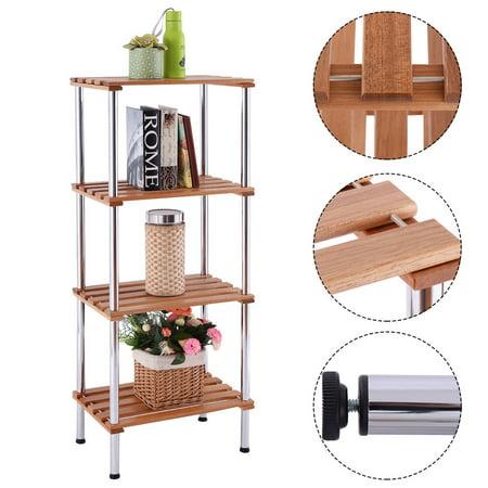 Costway 4 Tiers Wood Slat Storage Display Rack Shelves Steel Frame Home Office (Bakery Display Racks)