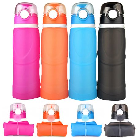 Collapsible Water Bottle, 20oz BPA-Free Leak-Proof Lightweight Silicone Sports Travel Camping Water Bottles,Blue color
