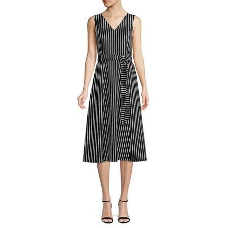 Striped Belted Midi Dress Anne Klein Black Dress