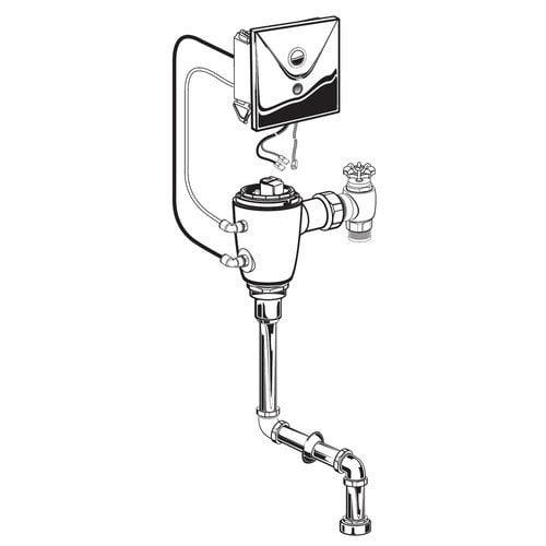 American Standard Concealed 0.125 GPF DC Urinal Flush Valve with Top Spud