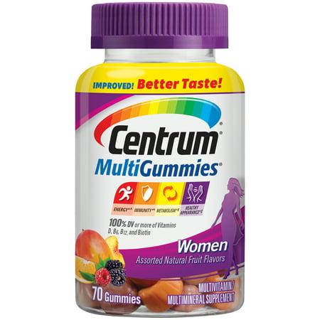 Centrum Women MultiGummies (70 Count, Natural Cherry, Berry, Orange Flavor) Multivitamin / Multimineral Supplement Gummies