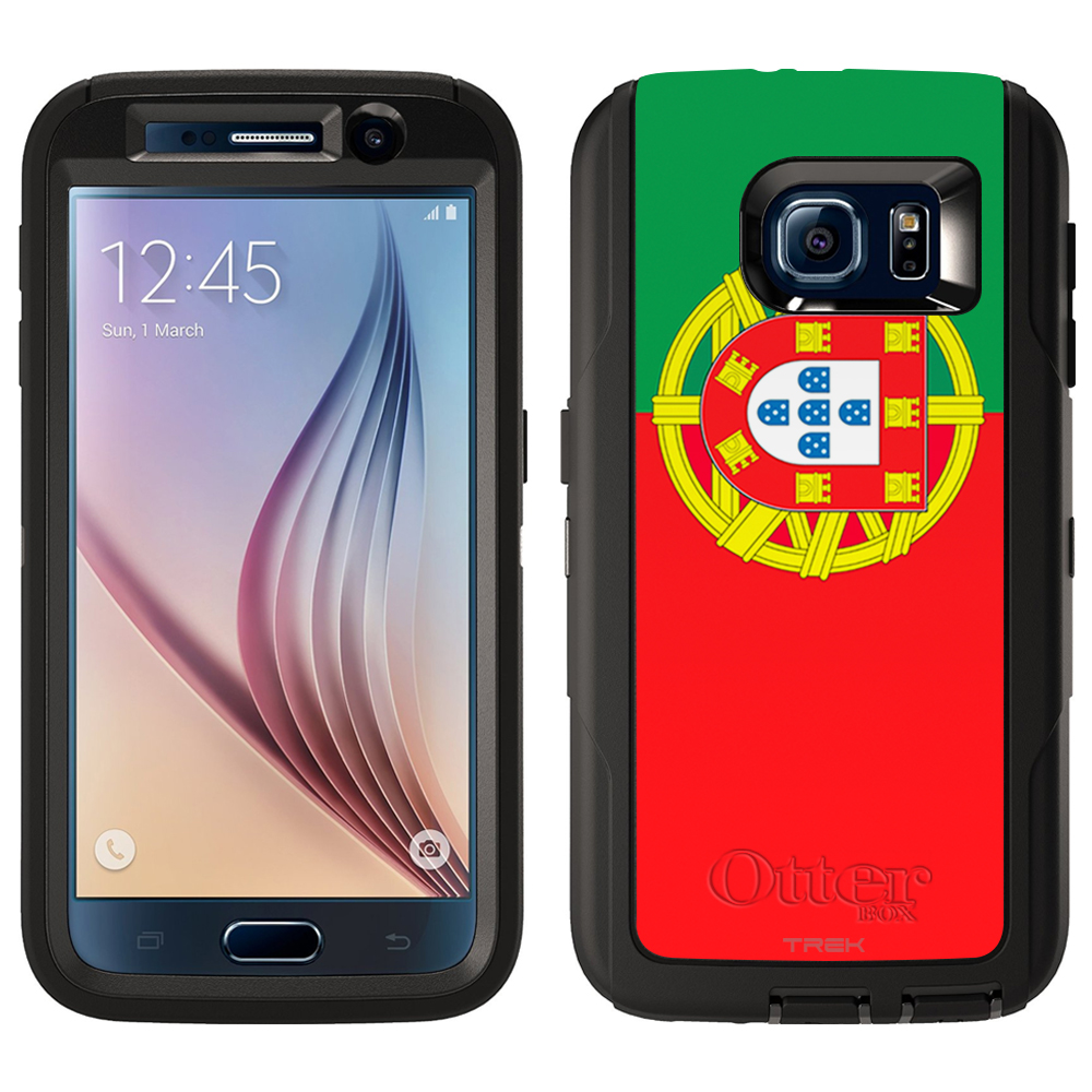 Skin Decal for Otterbox Defender Samsung Galaxy S6 Case Portugal Flag by Trek Media Group