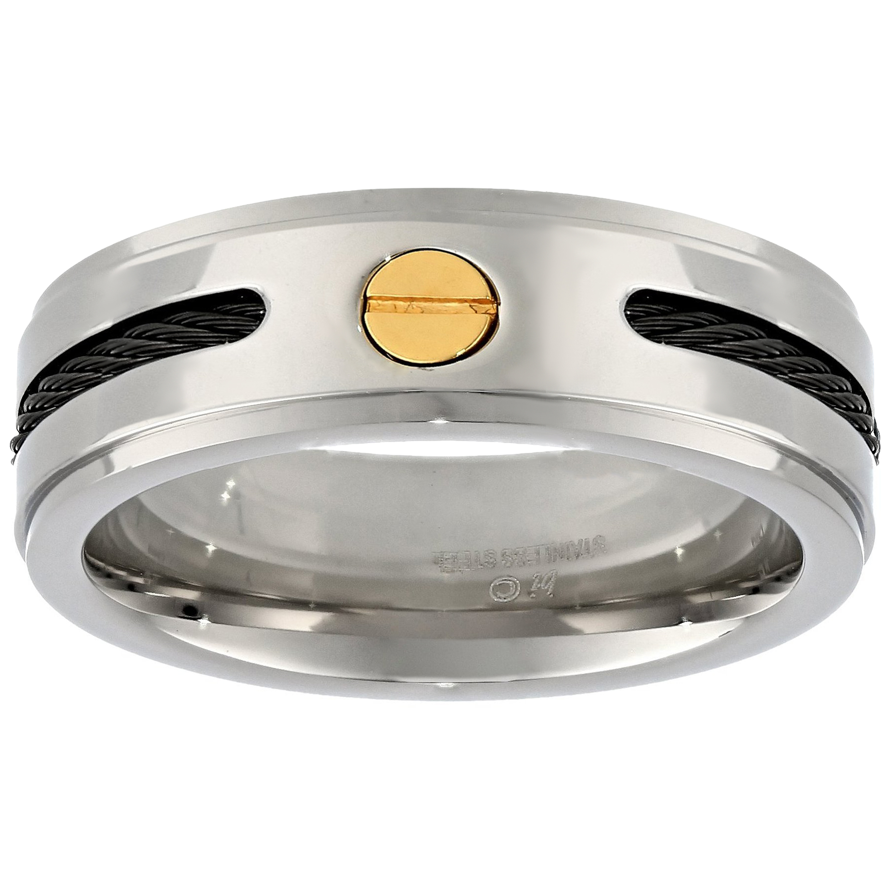 Metro Jewelry Stainless Steel Ring Cable and Black Ion Plating