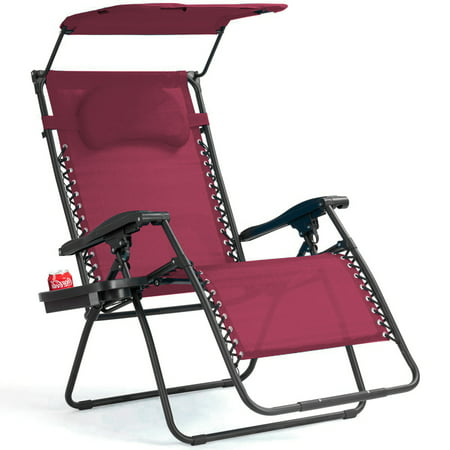 Gymax Folding Recliner Zero Gravity Lounge Chair W/ Shade Canopy Cup Holder Wine