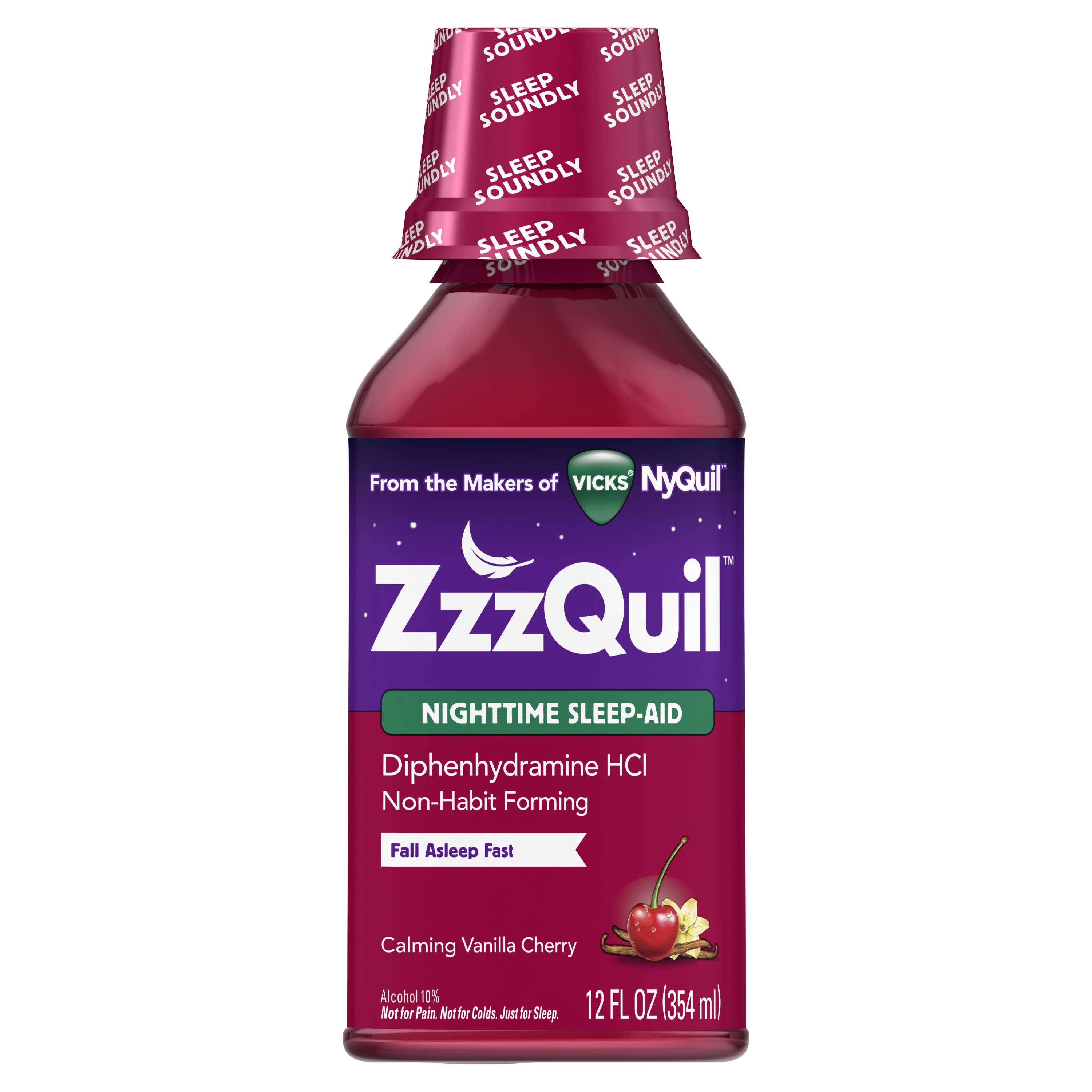 Vicks ZzzQuil Nighttime Sleep Aid, Calming Vanilla Cherry Liquid, 12 fl oz.