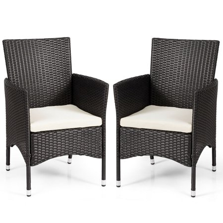 Gymax 2PC Patio Rattan Wicker Dining Chairs Set Black With 2 Set Cushion Covers - image 5 of 10