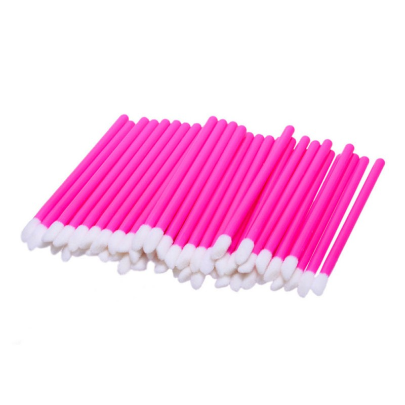 50pcs Disposable Lip Brush Gloss Lipstick Wands Applicator Brush Makeup Tool Pink