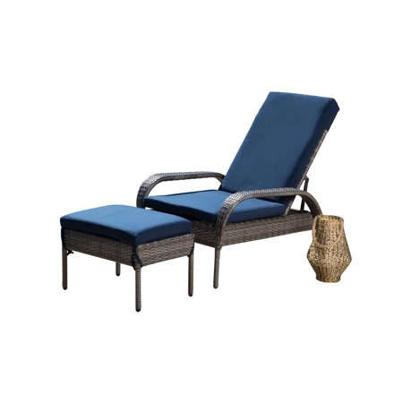 Wicker Chaise Lounge Cushions (Devon & Claire Della Outdoor Wicker Patio Chaise and Ottoman with Cushion)