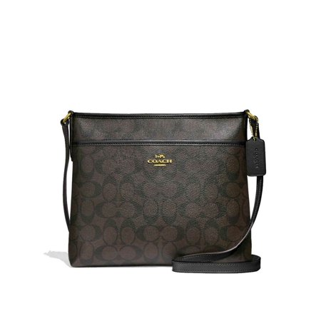 Top Zip Cross Body - BRAND NEW WOMEN'S COACH (F29210) SIGNATURE ZIP FILE CROSSBODY MESSENGER HAND BAG (Brown/Black)