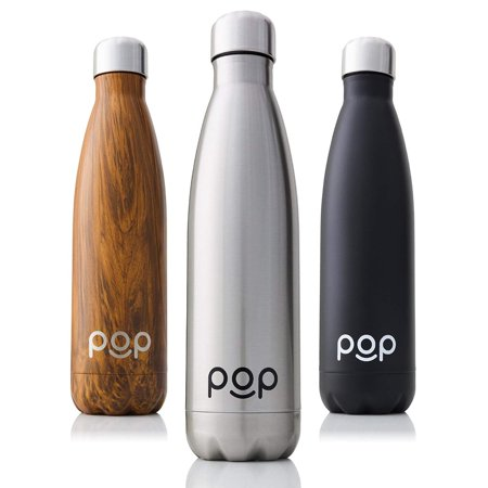 POP Design Stainless Steel Vacuum Insulated Water Bottle | Keeps Cold 24hrs. or Hot for 12hrs. | Sweat & Leak-Proof | Narrow Mouth & BPA Free | 17 Oz (500ml) | (17 Oz Vizio Vacuum Bottle)