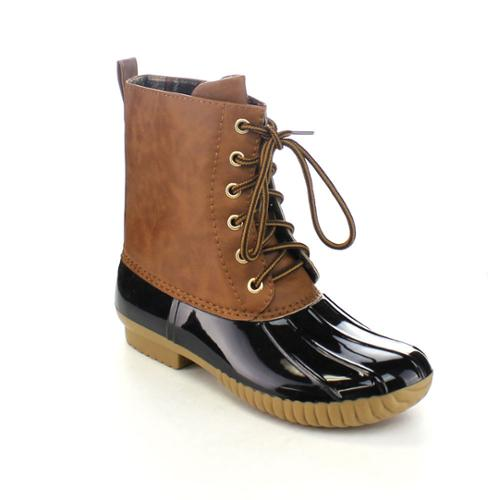 AXNY DYLAN Women's Lace Up Two-tone Calf Rain Duck Boots BLACK-7.5