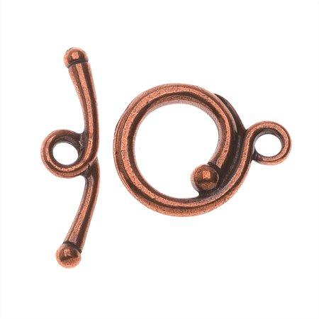 TierraCast Maker's Collection, Renaissance Toggle Clasp Set, Antiqued Copper Plated Antique Copper Clasp