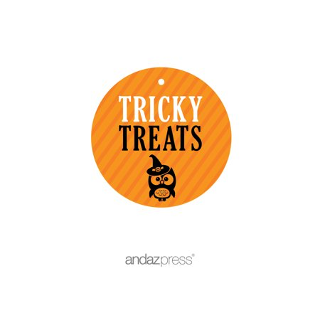 Tricky Treats Orange Black & Orange Halloween Thank You Round Gift Tags, 24-Pack - Halloween Gift Tag