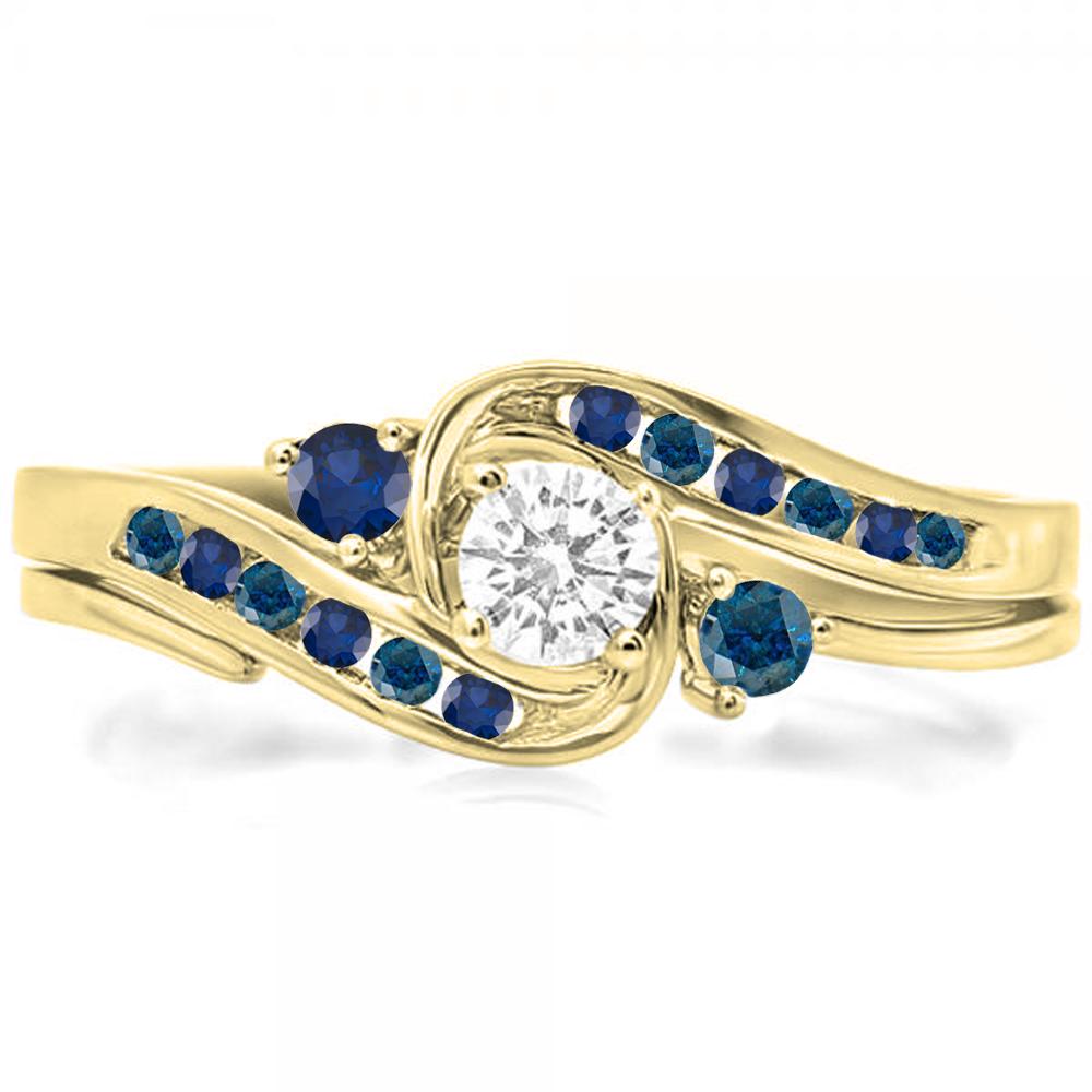 Dazzling Rock 14K Gold Blue & White Diamond & Blue Sapphi...