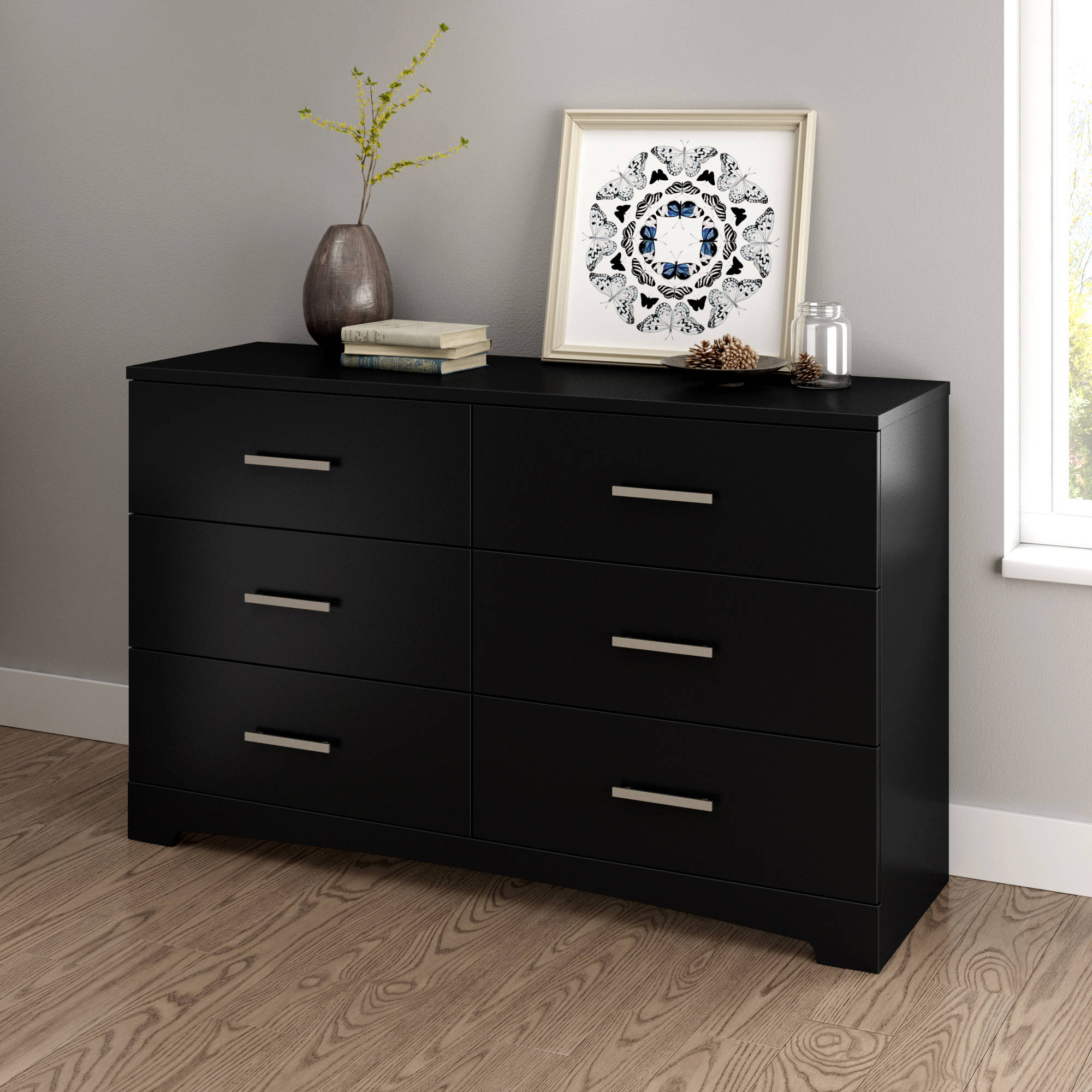 south shore soho 6 drawer double dresser multiple finishes. Black Bedroom Furniture Sets. Home Design Ideas