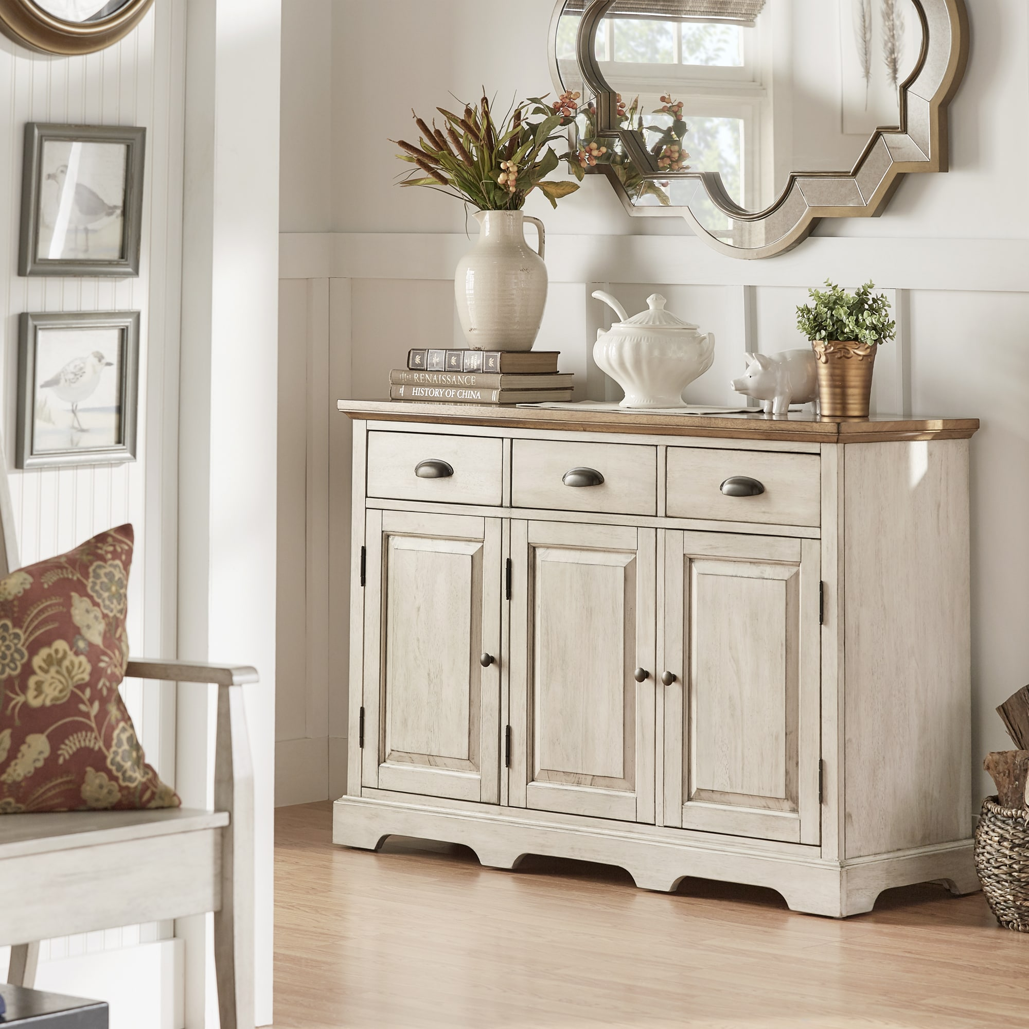 Inspire Q Eleanor Open Slf Two-Tone Wood Buffet Server by Classic Antique White Antique