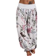Women's Harem Floral Hippie Baggy Sports Yoga Casual Loose Long Pants