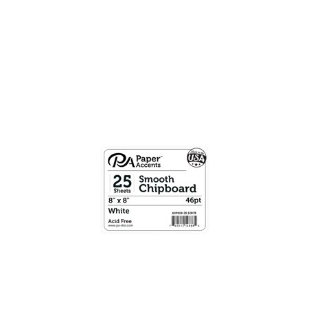 PA Paper Accents Chipboard 8x8 Heavy Weight 46pt White 25 Sheets - 8x8 Chipboard