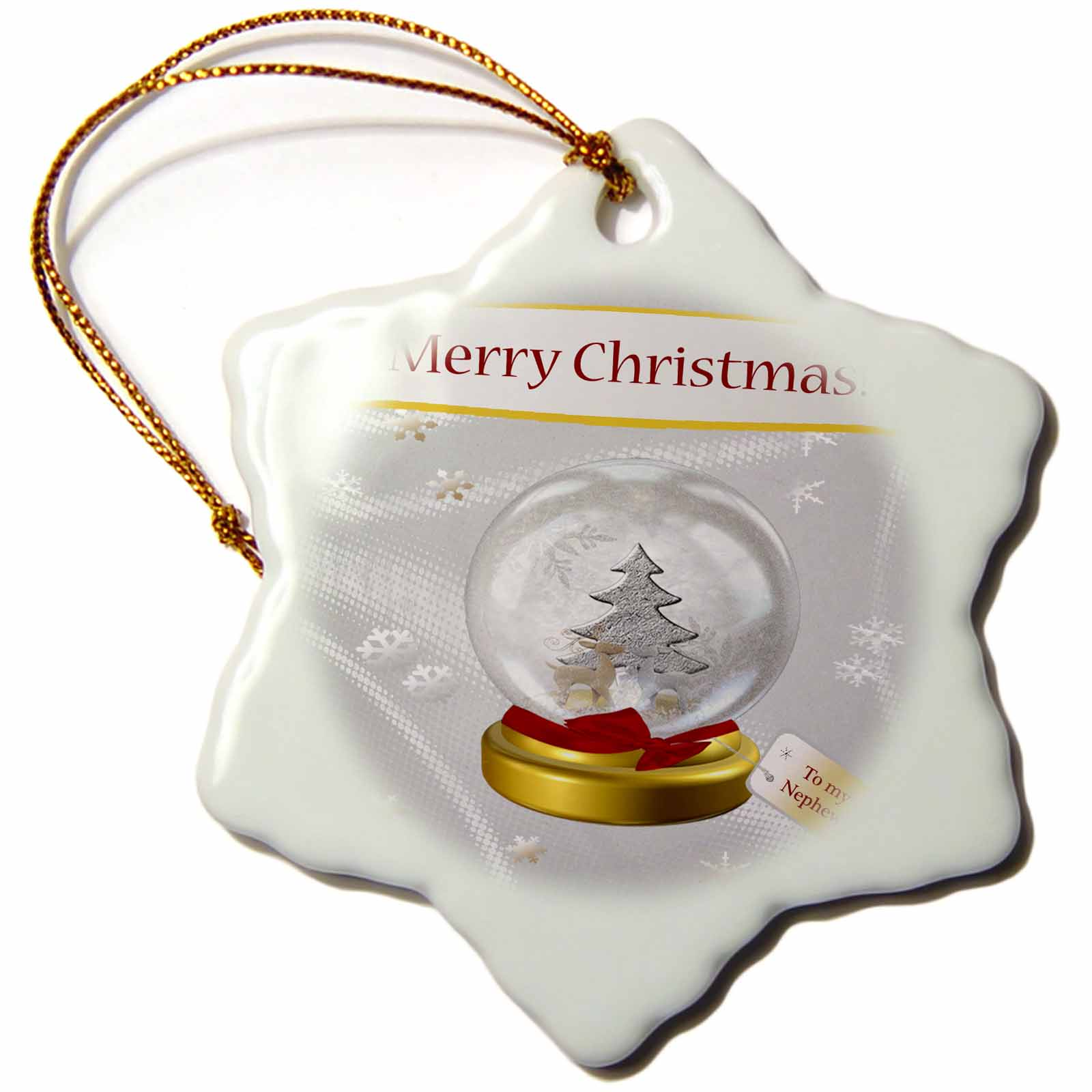 3dRose Snow Globe with Deer, Tree, and Snowflakes, Merry Christmas To My Nephew, Snowflake Ornament, Porcelain, 3-inch