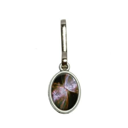 Bug Butterfly Nebula - Galaxy Space Oval Zipper Pull (Butterfly Zipper)