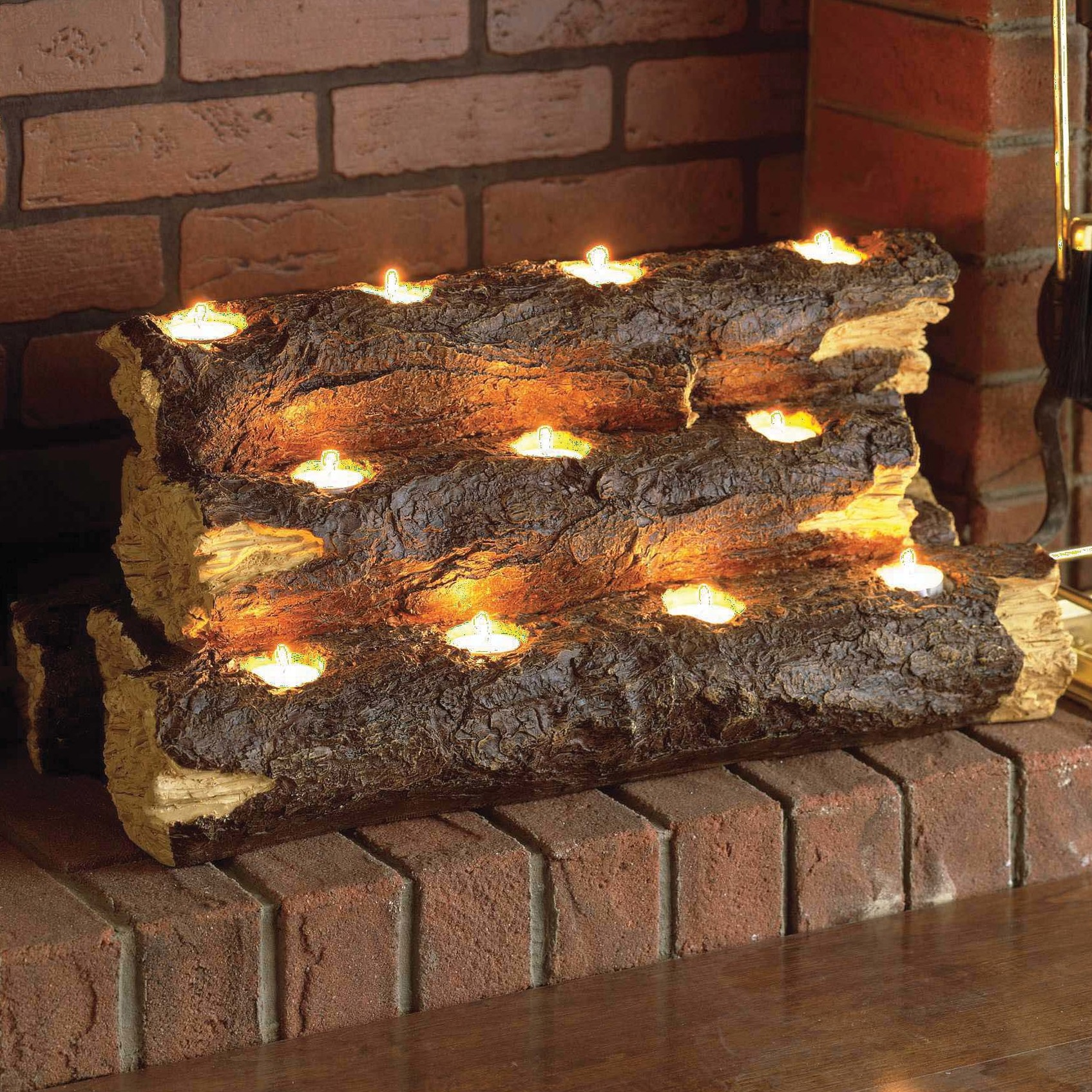 Free Shipping. Buy Wildon Home  Resin Tealight Fireplace Log at Walmart.com