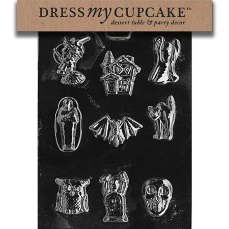 Chocolate Orange Halloween Cupcakes (Dress My Cupcake DMCH002 Chocolate Candy Mold, Assorted with House,)