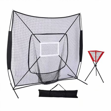 7'*7' Baseball Train Net with Single Target Frame & Collector Tube Black Sleevelet