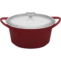 CorningWare 5.5-Quart French White Cast Aluminum Dutch Oven with Glass Cover