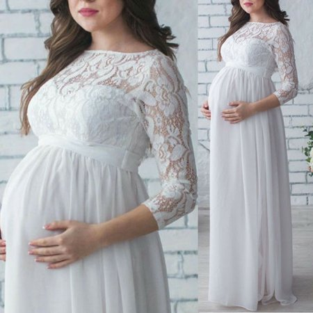 Pregnant Womens Lace Floral Maternity Long Dress Maxi Gown Photography Photo Clothes White S - Floral Lace Maxi Dress