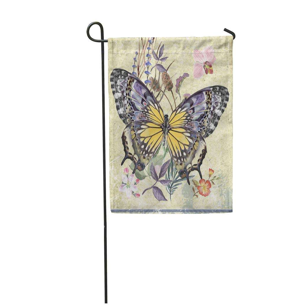 Jsdart Art Vintage Background With Watercolor Butterfly Flowers And Leaf Pattern Garden Flag Decorative Flag House Banner 28x40 Inch Walmart Canada