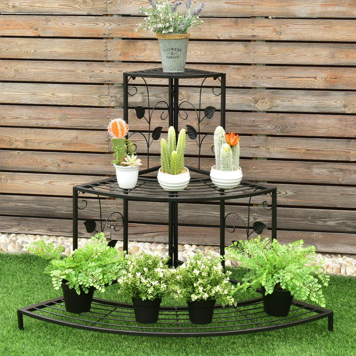 Costway 3 Tier Floral Corner Plant Stand Metal Flower Pot Rack Stair Display Ladder by Costway